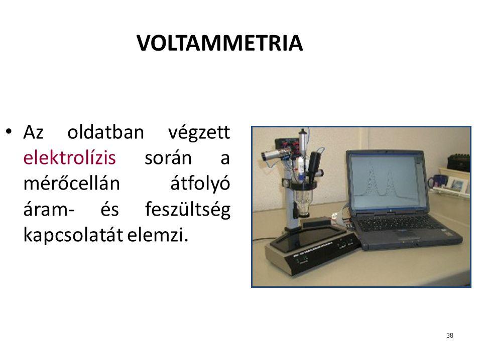 38 VOLTAMMETRIA Az oldatban végzett elektrolízis során a mérőcellán átfolyó áram- és feszültség kapcsolatát elemzi.