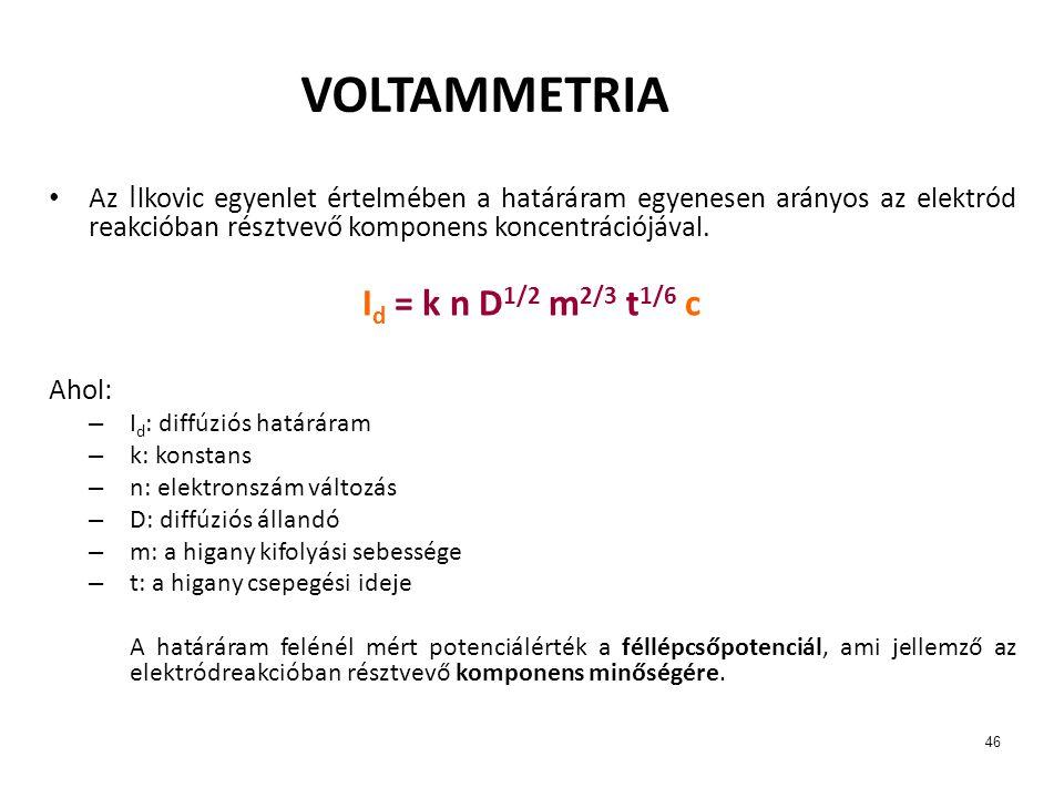 46 VOLTAMMETRIA Az I lkovic egyenlet értelmében a határáram egyenesen arányos az elektród reakcióban résztvevő komponens koncentrációjával. I d = k n