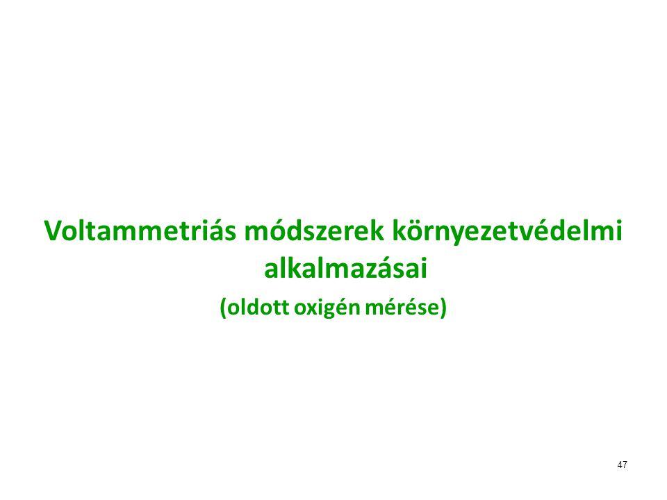 47 Voltammetriás módszerek környezetvédelmi alkalmazásai (oldott oxigén mérése)