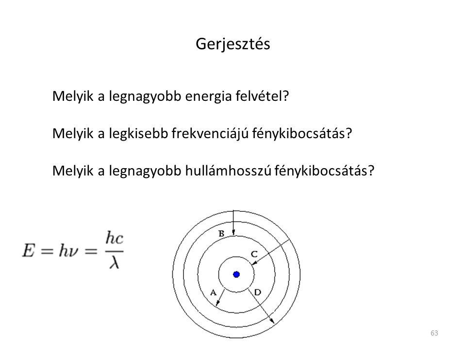 63 Gerjesztés Melyik a legnagyobb energia felvétel? Melyik a legkisebb frekvenciájú fénykibocsátás? Melyik a legnagyobb hullámhosszú fénykibocsátás?