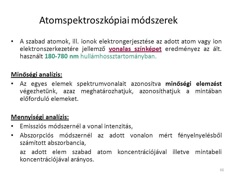 66 Atomspektroszkópiai módszerek A szabad atomok, ill. ionok elektrongerjesztése az adott atom vagy ion elektronszerkezetére jellemző vonalas színképe