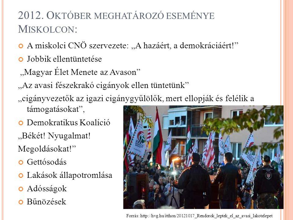 """A miskolci CNÖ szervezete: """"A hazáért, a demokráciáért!"""" Jobbik ellentüntetése """"Magyar Élet Menete az Avason"""" """"Az avasi fészekrakó cigányok ellen tünt"""