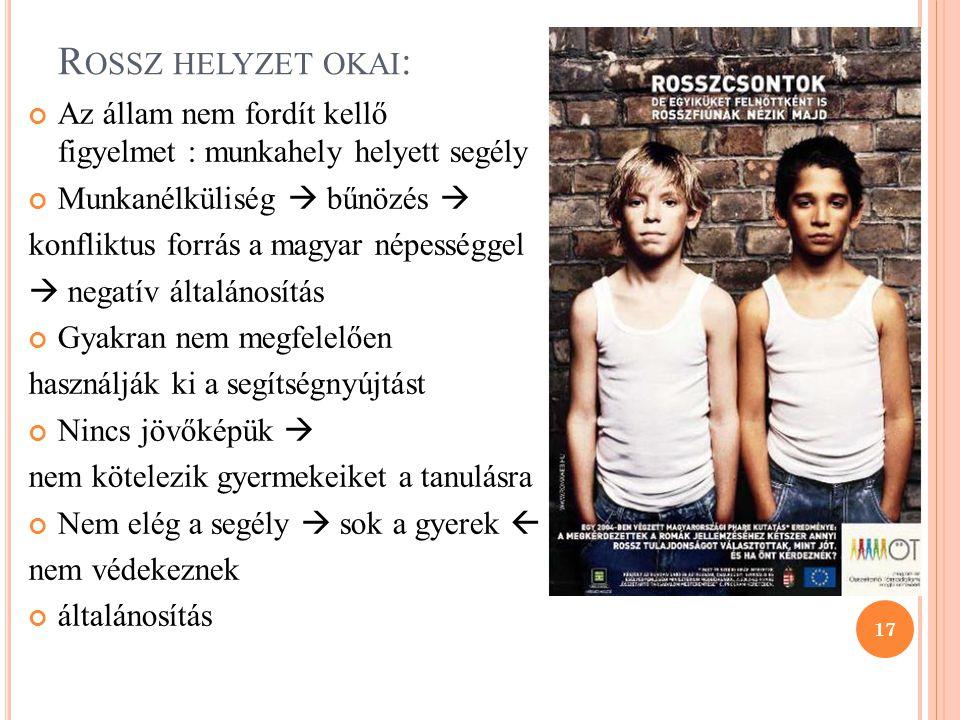 R OSSZ HELYZET OKAI : Az állam nem fordít kellő figyelmet : munkahely helyett segély Munkanélküliség  bűnözés  konfliktus forrás a magyar népességge