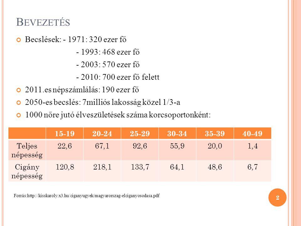B EVEZETÉS Becslések: - 1971: 320 ezer fő - 1993: 468 ezer fő - 2003: 570 ezer fő - 2010: 700 ezer fő felett 2011.es népszámlálás: 190 ezer fő 2050-es