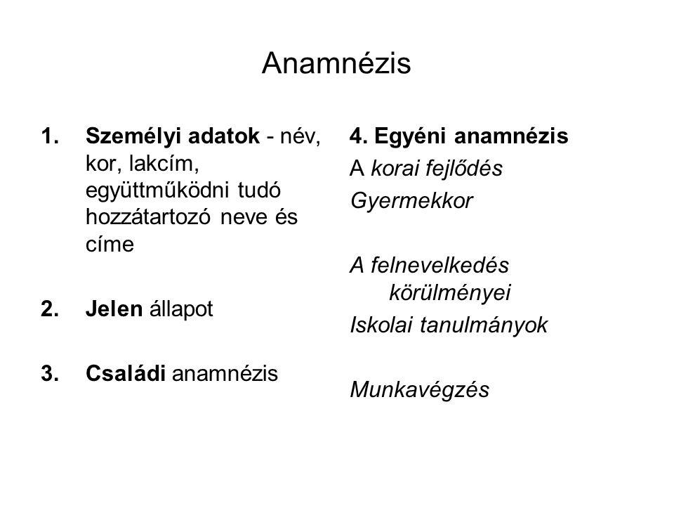 Anamnézis 1.Személyi adatok - név, kor, lakcím, együttműködni tudó hozzátartozó neve és címe 2.Jelen állapot 3.Családi anamnézis 4. Egyéni anamnézis A