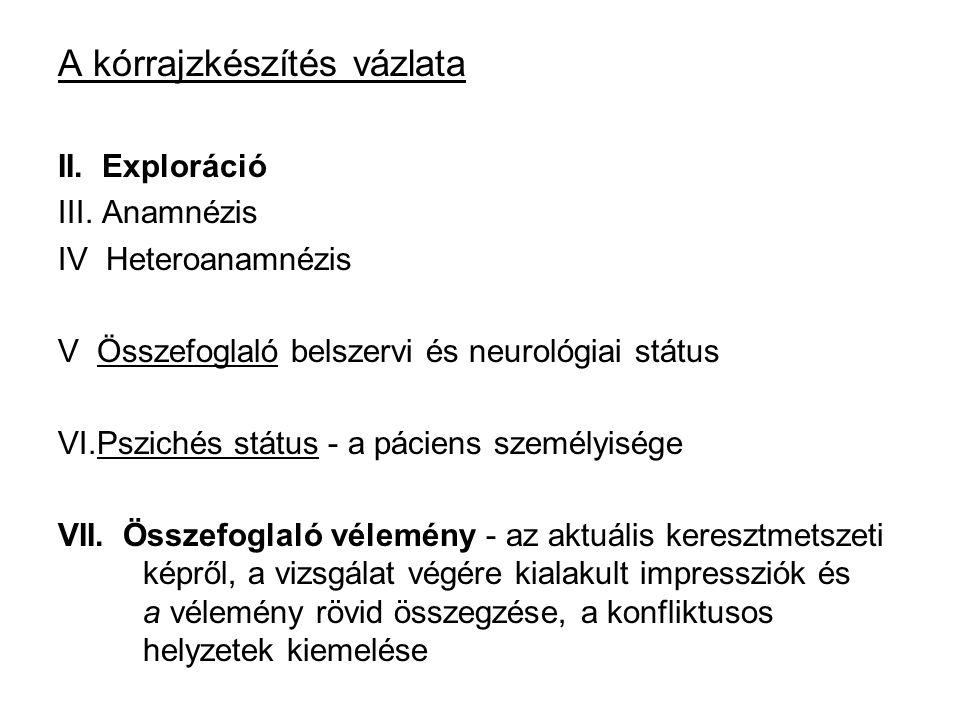 A kórrajzkészítés vázlata II. Exploráció III. Anamnézis IV Heteroanamnézis V Összefoglaló belszervi és neurológiai státus VI.Pszichés státus - a pácie