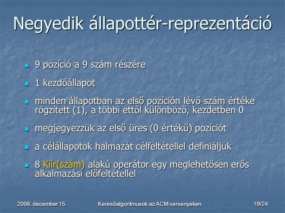 2006. december 15.Keresőalgoritmusok az ACM versenyeken19/24 9 pozíció a 9 szám részére 9 pozíció a 9 szám részére 1 kezdőállapot 1 kezdőállapot minde