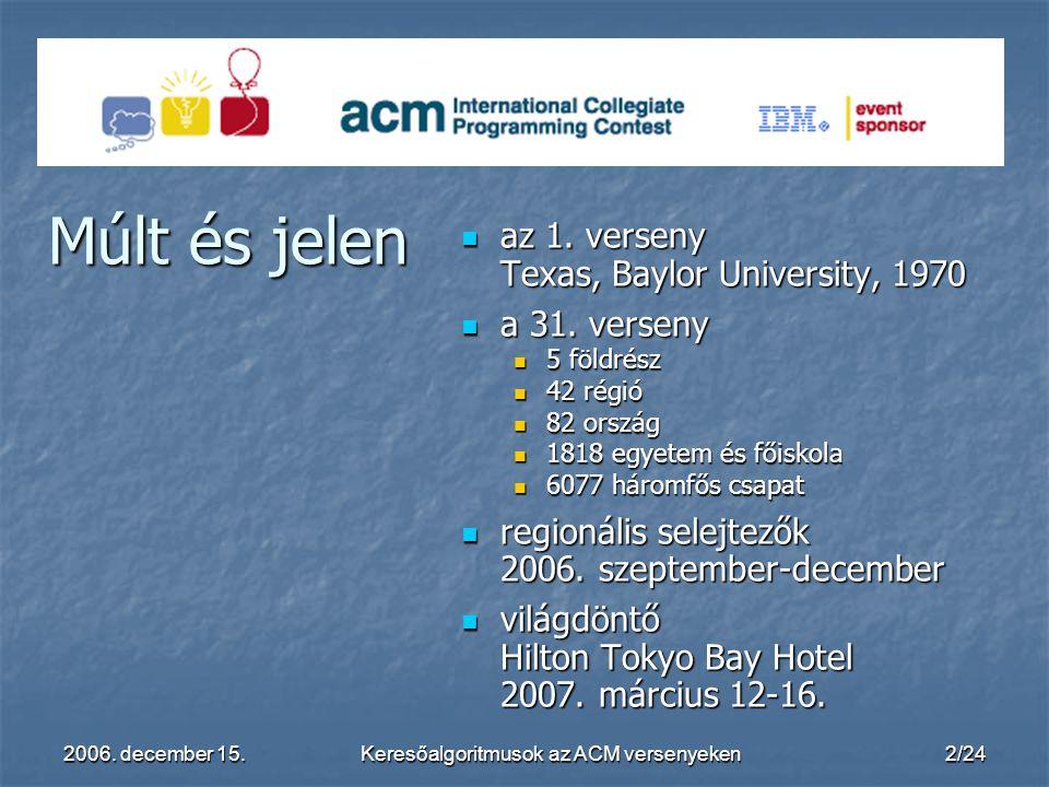 2006. december 15.Keresőalgoritmusok az ACM versenyeken2/24 az 1. verseny Texas, Baylor University, 1970 az 1. verseny Texas, Baylor University, 1970