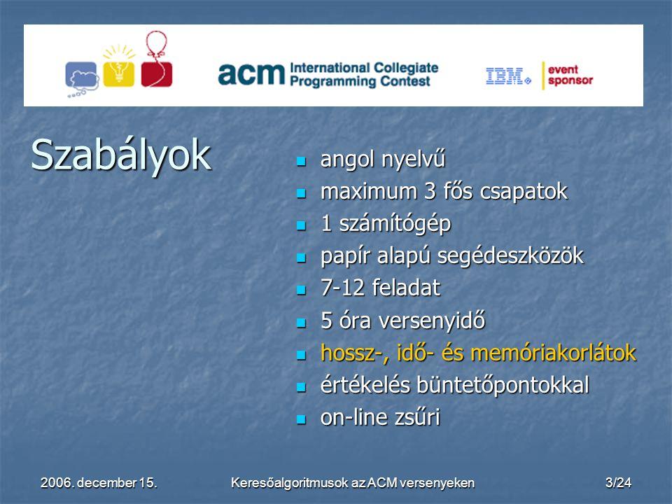 2006. december 15.Keresőalgoritmusok az ACM versenyeken3/24 angol nyelvű angol nyelvű maximum 3 fős csapatok maximum 3 fős csapatok 1 számítógép 1 szá