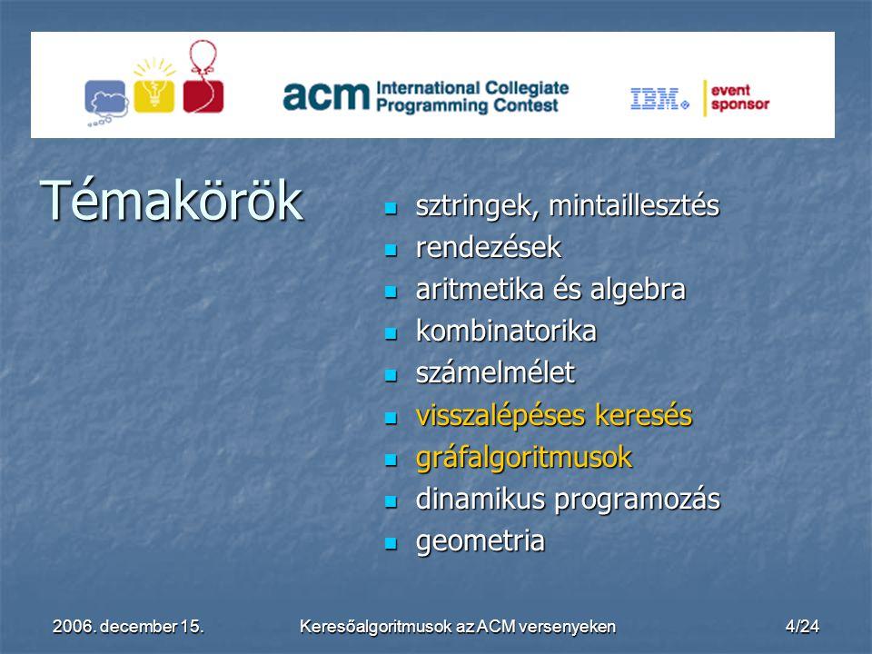 2006. december 15.Keresőalgoritmusok az ACM versenyeken4/24 Témakörök sztringek, mintaillesztés sztringek, mintaillesztés rendezések rendezések aritme