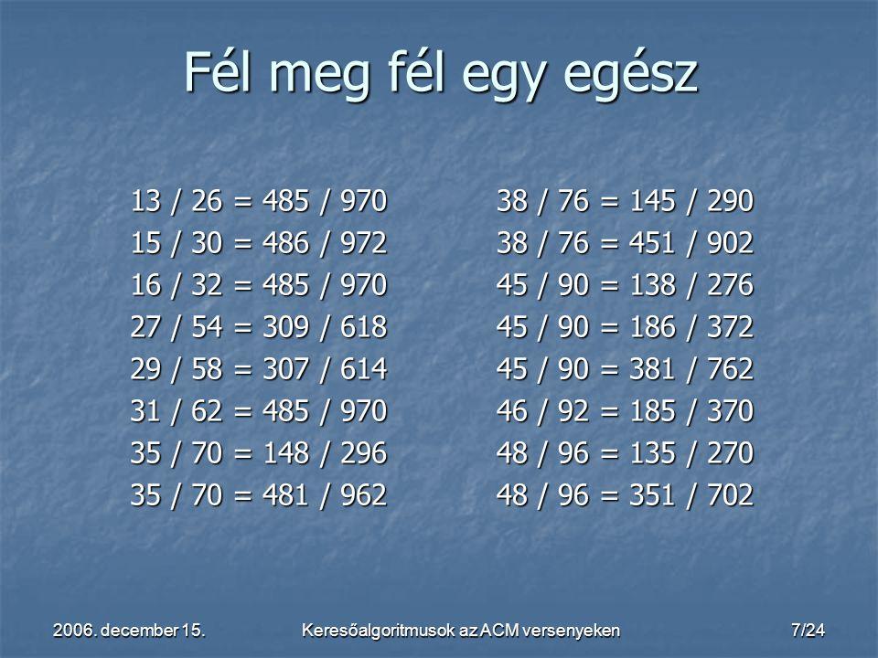 2006. december 15.Keresőalgoritmusok az ACM versenyeken7/24 13 / 26 = 485 / 970 15 / 30 = 486 / 972 16 / 32 = 485 / 970 27 / 54 = 309 / 618 29 / 58 =