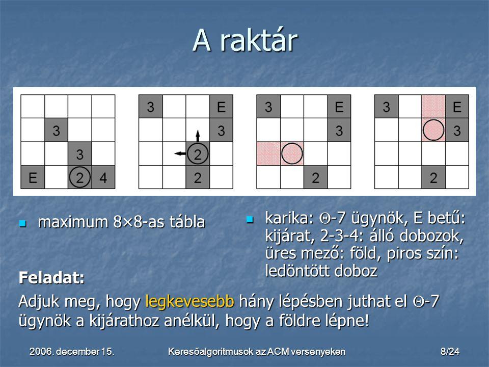 2006. december 15.Keresőalgoritmusok az ACM versenyeken8/24 karika:  -7 ügynök, E betű: kijárat, 2-3-4: álló dobozok, üres mező: föld, piros szín: le