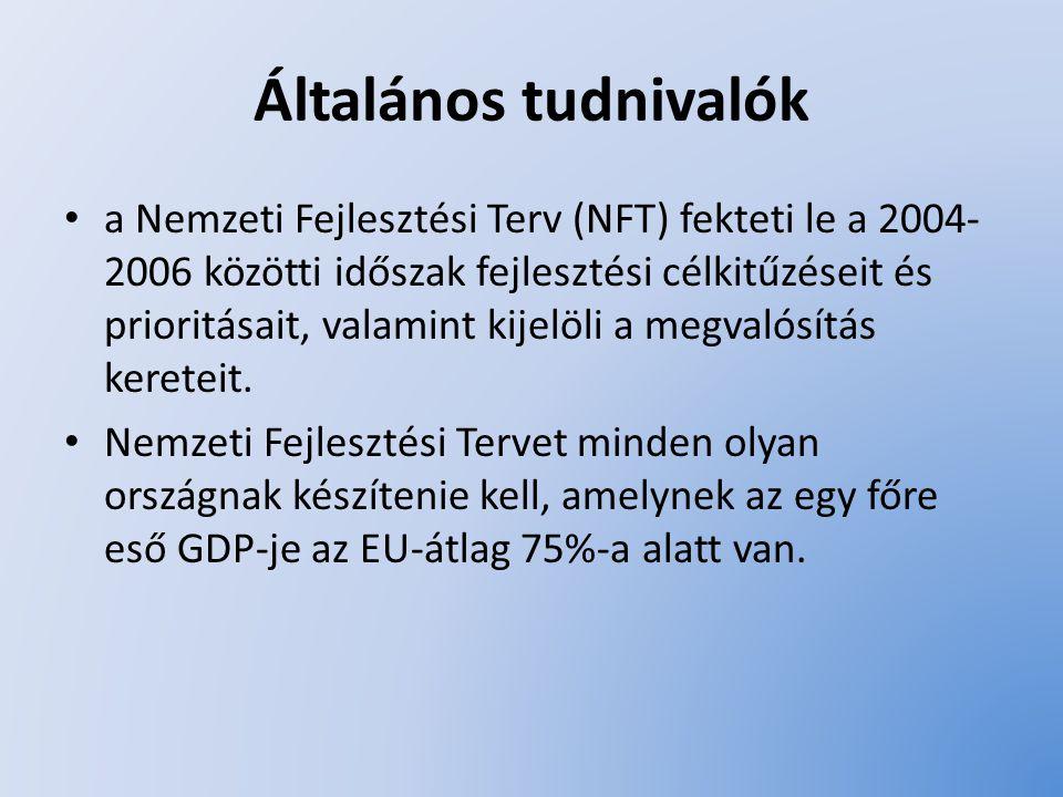 Általános tudnivalók a Nemzeti Fejlesztési Terv (NFT) fekteti le a 2004- 2006 közötti időszak fejlesztési célkitűzéseit és prioritásait, valamint kije