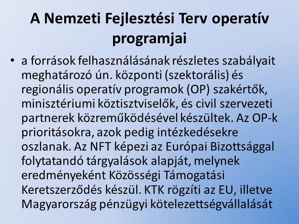 A Nemzeti Fejlesztési Terv operatív programjai Agrár- és Vidékfejlesztési Operatív Program (AVOP) Humánerőforrás-fejlesztés Operatív Program (HEFOP) Gazdasági Versenyképesség Operatív Program (GVOP) Környezetvédelmi és Infrastruktúra Operatív Program (KIOP) Regionális Fejlesztés Operatív Program (ROP)