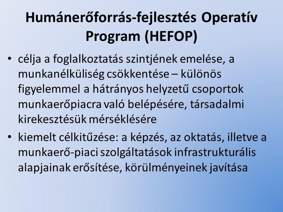 A HEFOP prioritásai aktív munkaerő-piaci intézkedések támogatása a társadalmi kirekesztődés elleni küzdelem a munkaerőpiacra való belépés elősegítésével az egész életen át tartó tanulás támogatása és az alkalmazkodóképesség javítása az oktatási, a szociális szolgáltatások és az egészségügyi ellátórendszer infrastruktúrájának fejlesztése technikai segítségnyújtás