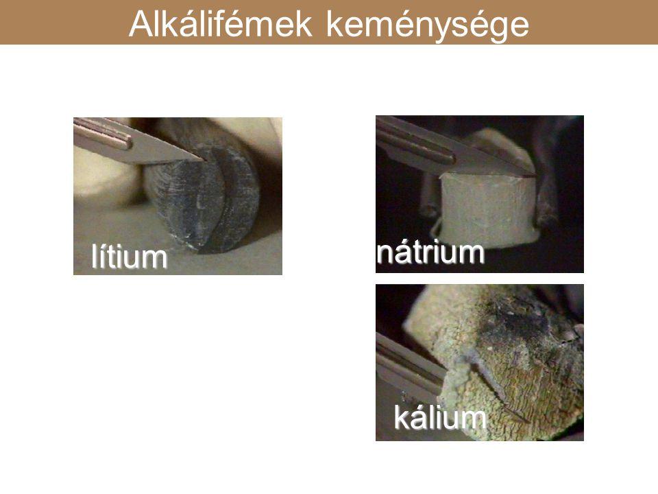 lítium nátrium kálium keménység Alkálifémek keménysége