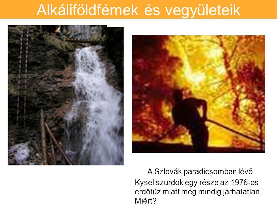 Alkáliföldfémek és vegyületeik A A Szlovák paradicsomban lévő Kysel szurdok egy része az 1976-os erdőtűz miatt még mindig járhatatlan.