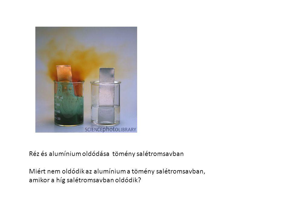 Réz és alumínium oldódása tömény salétromsavban Miért nem oldódik az alumínium a tömény salétromsavban, amikor a híg salétromsavban oldódik?