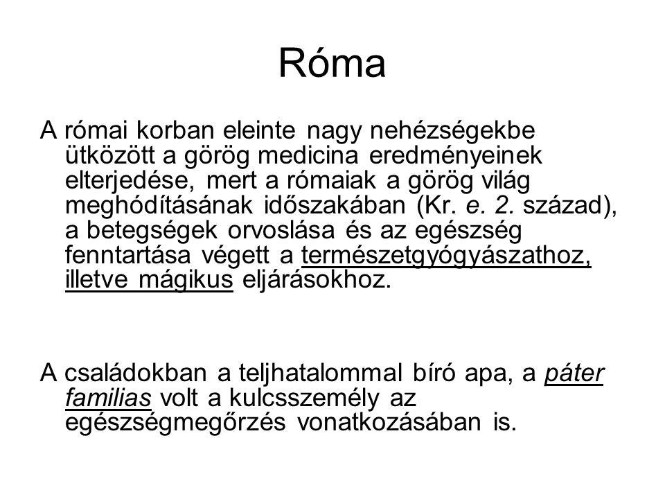 Róma A római korban eleinte nagy nehézségekbe ütközött a görög medicina eredményeinek elterjedése, mert a rómaiak a görög világ meghódításának időszakában (Kr.