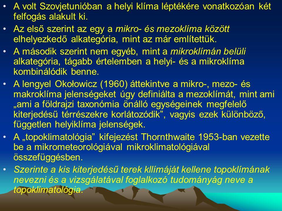 A volt Szovjetunióban a helyi klíma léptékére vonatkozóan két felfogás alakult ki. Az első szerint az egy a mikro- és mezoklíma között elhelyezkedő al