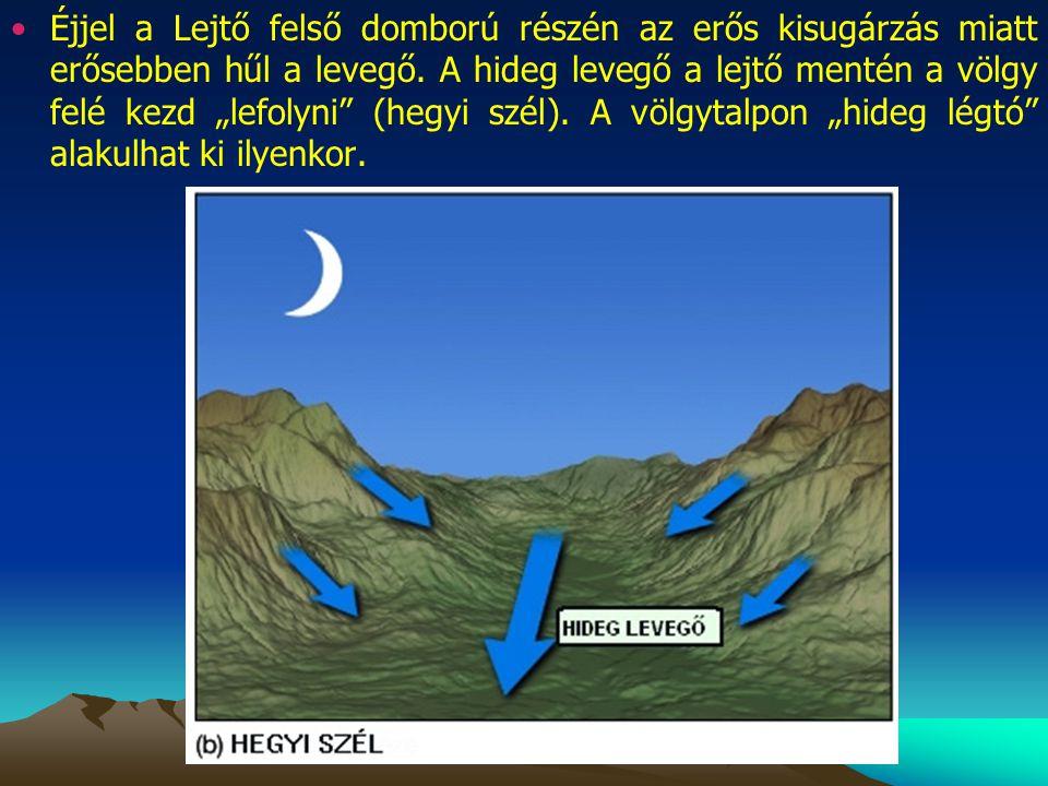"""Éjjel a Lejtő felső domború részén az erős kisugárzás miatt erősebben hűl a levegő. A hideg levegő a lejtő mentén a völgy felé kezd """"lefolyni"""" (hegyi"""