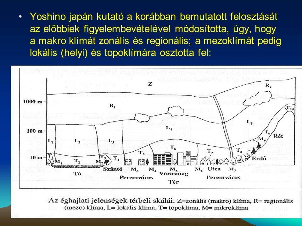 Yoshino japán kutató a korábban bemutatott felosztását az előbbiek figyelembevételével módosította, úgy, hogy a makro klímát zonális és regionális; a