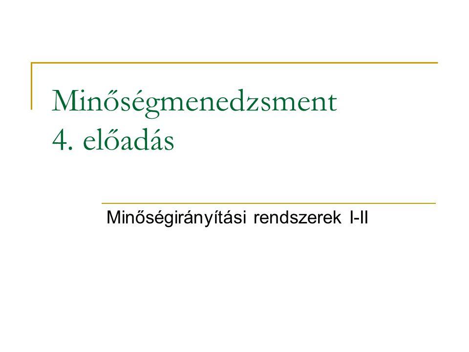 Minőségmenedzsment 4. előadás Minőségirányítási rendszerek I-II