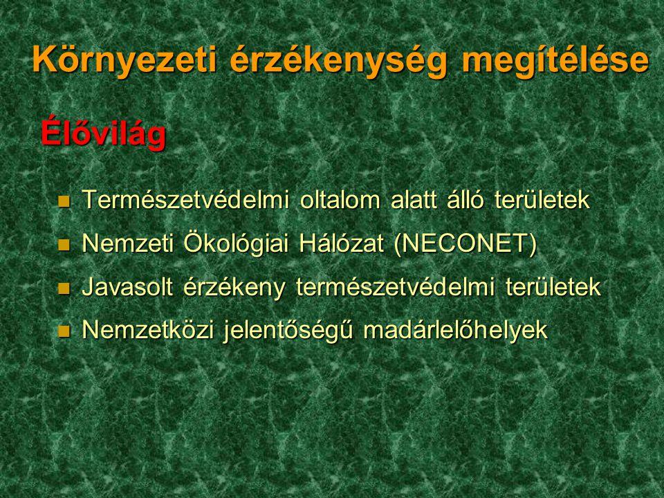 Környezeti érzékenység megítélése n Természetvédelmi oltalom alatt álló területek n Nemzeti Ökológiai Hálózat (NECONET) n Javasolt érzékeny természetv