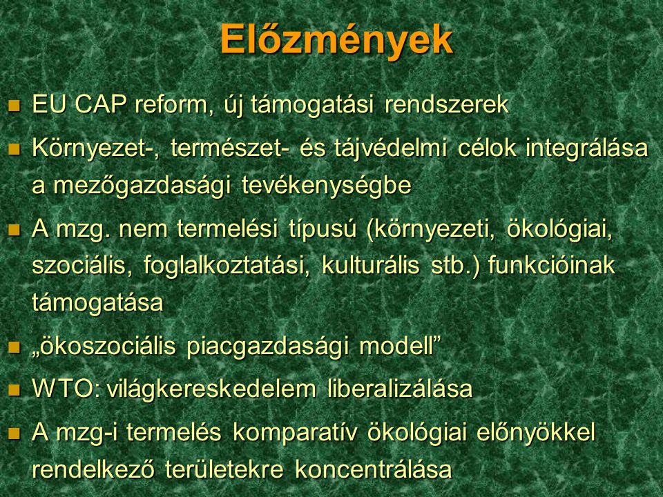 Előzmények n EU CAP reform, új támogatási rendszerek n Környezet-, természet- és tájvédelmi célok integrálása a mezőgazdasági tevékenységbe n A mzg. n