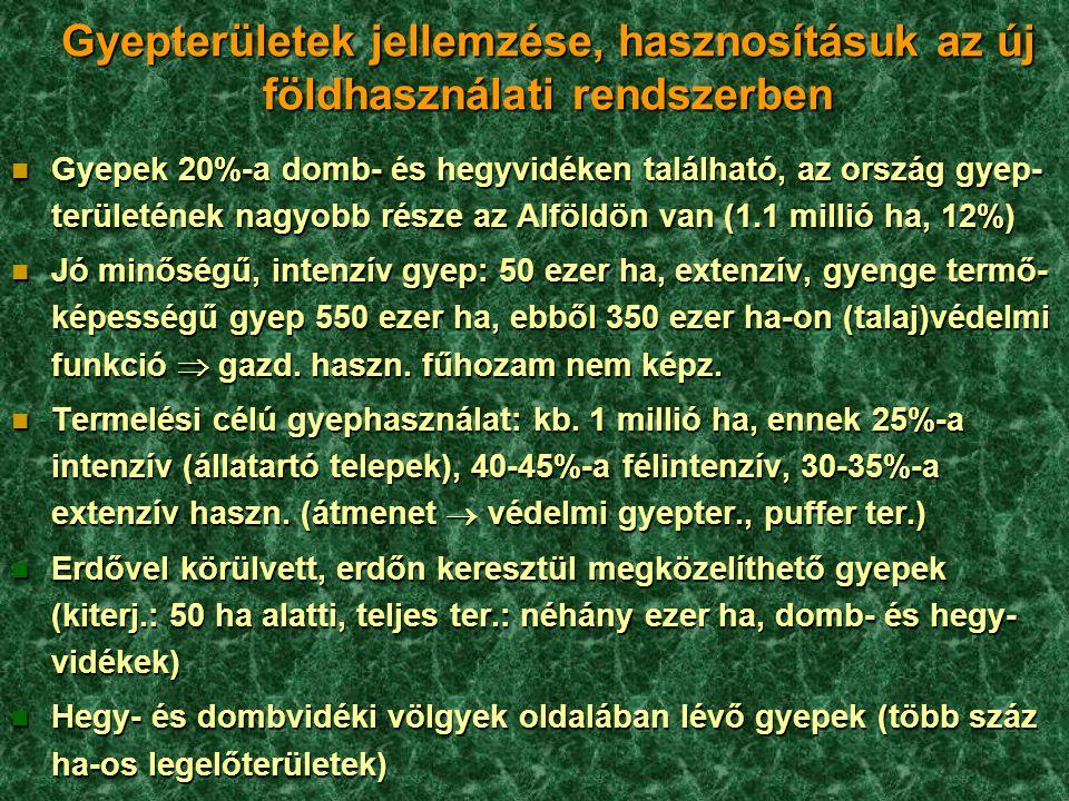 Gyepterületek jellemzése, hasznosításuk az új földhasználati rendszerben n Gyepek 20%-a domb- és hegyvidéken található, az ország gyep- területének na