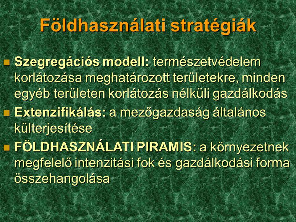 Földhasználati stratégiák n Szegregációs modell: természetvédelem korlátozása meghatározott területekre, minden egyéb területen korlátozás nélküli gaz