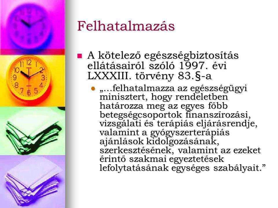 Felhatalmazás A kötelező egészségbiztosítás ellátásairól szóló 1997.