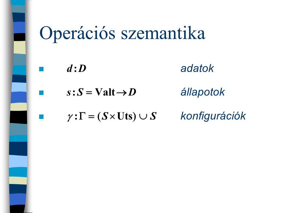 Az utasítások szintaxisa B-N-formában  utasítás    skip |  program változó    kifejezés  |  utasítás  ;  utasítás  | if  logikai kifejezés  then  utasítás  else  utasítás  fi | while  logikai kifejezés  do  utasítás  od