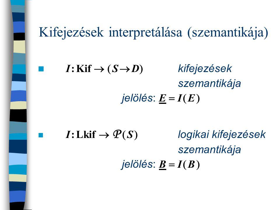 Operációs szemantika d : D adatok s : S  Valt  D állapotok  :    S  Uts   S konfigurációk