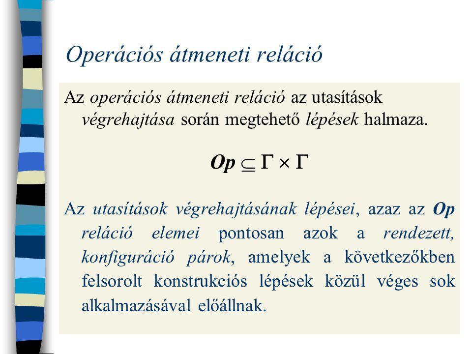 Példa egy programra és végrehajtására A program: (x:=x-1;(x>0*(y:=y+x;x:=x-1))) Kezdő értékek: x=3 és y=0 x yamit még végre kell hajtani x yamit még végre kell hajtani 3 0 (x:=x-1;(x>0*(y:=y+x;x:=x-1))) 2 0 (x>0*(y:=y+x;x:=x-1)) 2 0 ((y:=y+x;x:=x-1);(x>0*(y:=y+x;x:=x-1))) 2 2 (x:=x-1;(x>0*(y:=y+x;x:=x-1))) 1 2 (x>0*(y:=y+x;x:=x-1)) 1 2 ((y:=y+x;x:=x-1);(x>0*(y:=y+x;x:=x-1))) 1 3 (x:=x-1;(x>0*(y:=y+x;x:=x-1))) 0 3 (x>0*(y:=y+x;x:=x-1)) 0 3