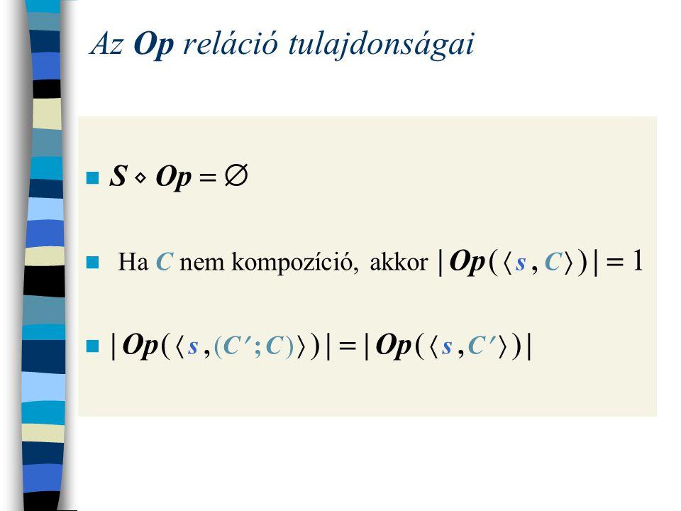 A lépések kompozíciós kiterjesztése Az első komponens végrehajtásának nem utolsó lépése Ha  s, C  → Op  s , C   és C  Uts, akkor  s, (C ; C )  → Op  s , (C  ; C )  Az első komponens végrehajtásának utolsó lépése Ha  s, C  → Op s  és C  Uts, akkor  s, (C ; C )  → Op  s , C 