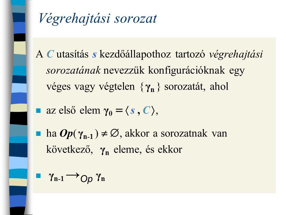 Az Op reláció tulajdonságai Ha  s, (C ; C )  → Op γ, akkor vagy γ   s , (C  ; C ) , vagy γ   s , C  Ha  s, (C ; C )  → Op  s , (C  ; C ) , akkor  s, C  → Op  s , C   Ha  s, (C ; C )  → Op  s , C , akkor  s, C  → Op s 