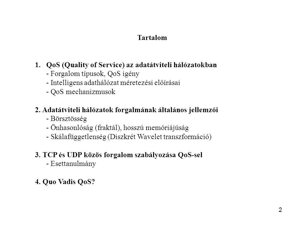 2 Tartalom 1.QoS (Quality of Service) az adatátviteli hálózatokban - Forgalom típusok, QoS igény - Intelligens adathálózat méretezési előírásai - QoS