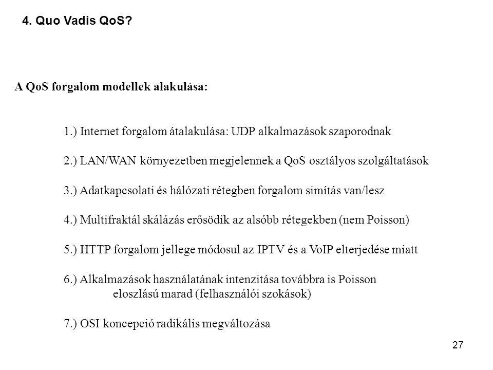 27 4. Quo Vadis QoS? A QoS forgalom modellek alakulása: 1.) Internet forgalom átalakulása: UDP alkalmazások szaporodnak 2.) LAN/WAN környezetben megje