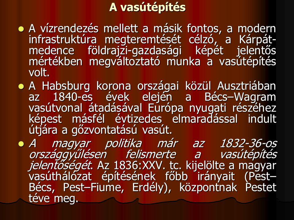 Báró Sina György 1836-ban kapott engedélyt a Bécs– Sopron–Győr–Buda vasút építésére, illetve Ullmann Móric a Duna bal partján Bécsből–Pozsonyba–Pestre, onnan Szolnokon át Debrecenbe tartó vasútvonal létrehozására.