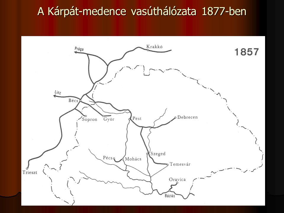 A Kárpát-medence vasúthálózata 1877-ben