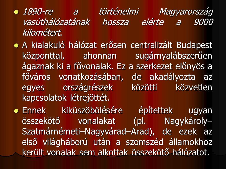1890-re a történelmi Magyarország vasúthálózatának hossza elérte a 9000 kilométert.