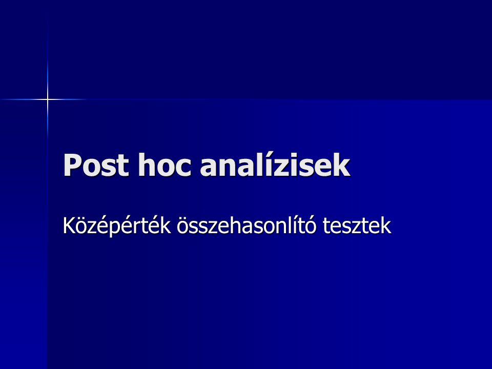 Post hoc analízisek Középérték összehasonlító tesztek