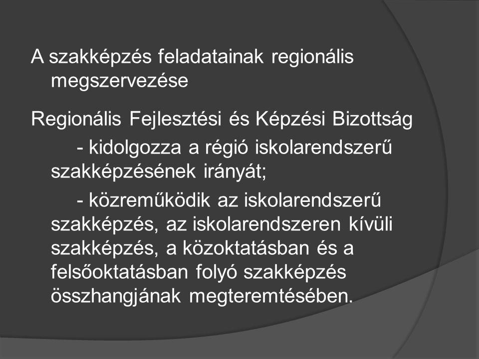 - meghatározza a szakképzés fejlesztési irányait és arányait; - részt vesz a pályakövetési rendszer működtetésében; - a régió helyi önkormányzatainál kezdeményezi a szakképzés-szervezési társulás megalakulását.