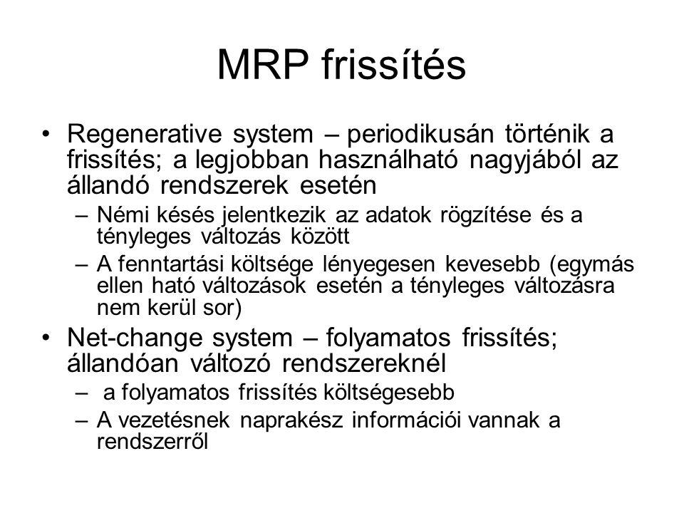 MRP frissítés Regenerative system – periodikusán történik a frissítés; a legjobban használható nagyjából az állandó rendszerek esetén –Némi késés jelentkezik az adatok rögzítése és a tényleges változás között –A fenntartási költsége lényegesen kevesebb (egymás ellen ható változások esetén a tényleges változásra nem kerül sor) Net-change system – folyamatos frissítés; állandóan változó rendszereknél – a folyamatos frissítés költségesebb –A vezetésnek naprakész információi vannak a rendszerről