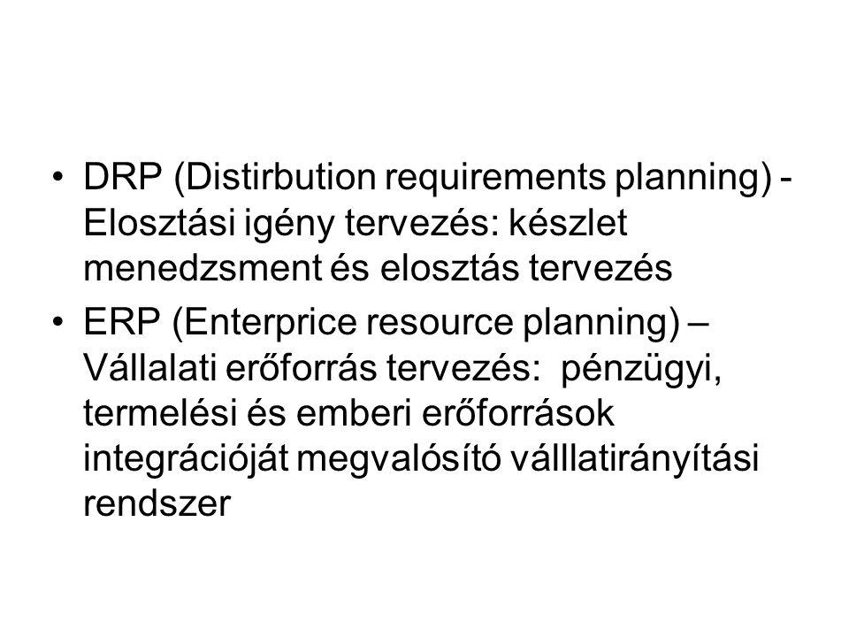 DRP (Distirbution requirements planning) - Elosztási igény tervezés: készlet menedzsment és elosztás tervezés ERP (Enterprice resource planning) – Vállalati erőforrás tervezés: pénzügyi, termelési és emberi erőforrások integrációját megvalósító válllatirányítási rendszer
