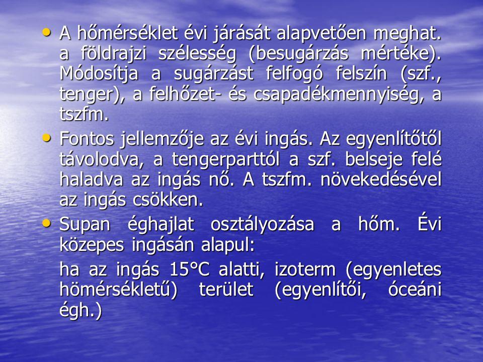 A hőmérséklet évi járását alapvetően meghat.a földrajzi szélesség (besugárzás mértéke).