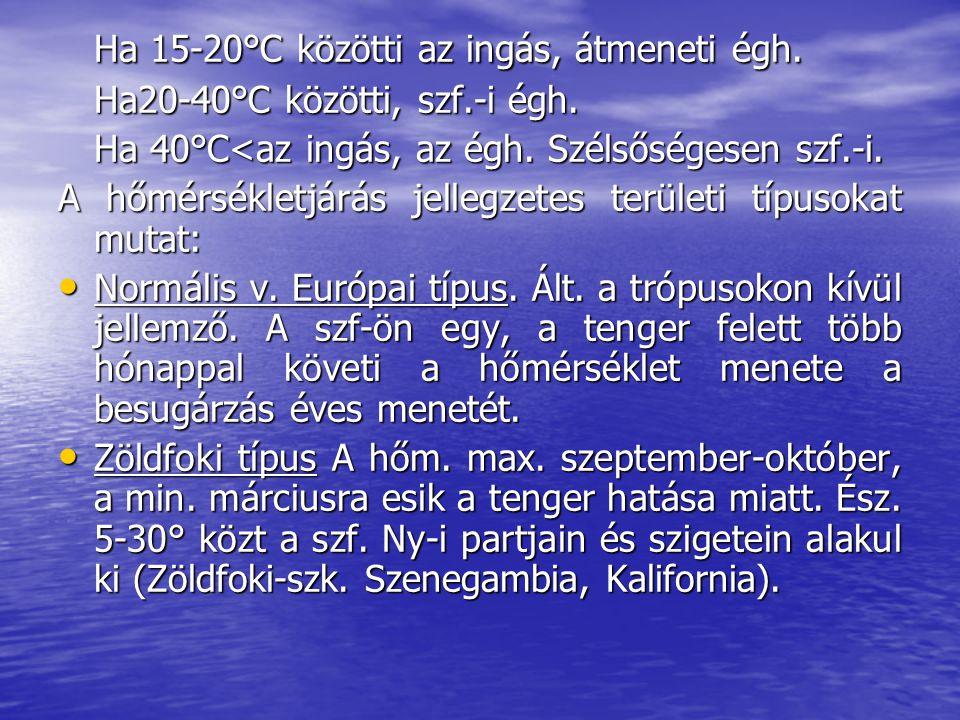 Ha 15-20°C közötti az ingás, átmeneti égh.Ha20-40°C közötti, szf.-i égh.