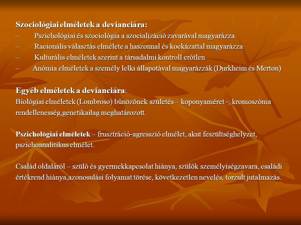 Szociológiai elméletek a devianciára: – Pszichológiai és szociológia a szocializáció zavarával magyarázza – Racionális választás elmélete a haszonnal és kockázattal magyarázza – Kulturális elméletek szerint a társadalmi kontroll erőtlen – Anómia elméletek a személy lelki állapotával magyarázzák (Durkheim és Merton) Egyéb elméletek a devianciára : Biológiai elméletek (Lombroso) bűnözőnek születés – koponyaméret -, kromoszóma rendellenesség,genetikailag meghatározott.