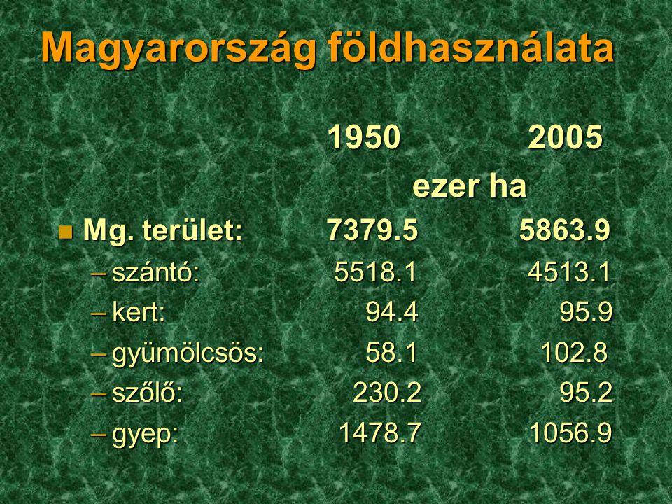 Magyarország földhasználata 19502005 ezer ha ezer ha n Mg. terület: 7379.5 5863.9 –szántó: 5518.14513.1 –kert: 94.4 95.9 –gyümölcsös: 58.1 102.8 –szől
